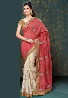 Old Rose Art Matka Silk and Art Chanderi Jacquard Saree with Blouse