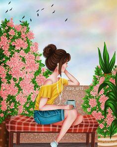 Im beautiful coz God makes no mistakes. Art Anime Fille, Anime Art Girl, Cartoon Kunst, Cartoon Art, Art And Illustration, Girly Pictures, Art Pictures, Sarra Art, Art Mignon
