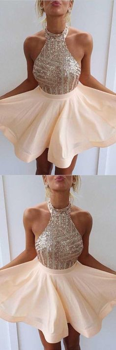 Prom Dress, Prom Dresses A-Line, Pink Homecoming Dress, Chiffon Homecoming Dress, Homecoming Dress Short Short Homecoming Dresses Peach Homecoming Dresses, Open Back Prom Dresses, Sequin Prom Dresses, Dresses Short, Backless Prom Dresses, Sequin Party Dress, A Line Prom Dresses, Cheap Prom Dresses, Quinceanera Dresses