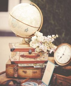 Beautiful Wedding Decor with Travel Theme. Florals, Suitcases and Globe. Vintage Travel Wedding, Vintage Travel Themes, Travel Bridal Showers, Travel Party, Grad Parties, Baby Party, Party Planning, Party Themes, Our Wedding