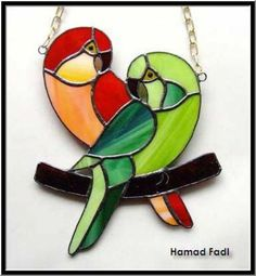 Two colorful parrots: