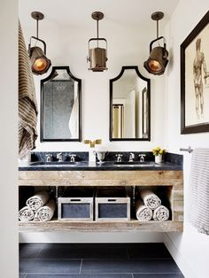 For a Masculine Bath- or a rustic cottage. Not so sure about the spotlights- love everything else.