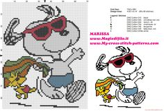 Free cross stitch pattern Peanuts Snoopy and Woodstock on vacation