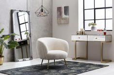The Gemma Faux Sheepskin Tub Chair provides softness and warmth, finished with gold stainless steel legs, this armchair is perfect for making a bold statement. Mirrored Console Table, Accent Chairs, Interior, Armchairs And Accent Chairs, Sheepskin, Chair, Armchair, Contemporary Dining Chairs, Dining Chairs
