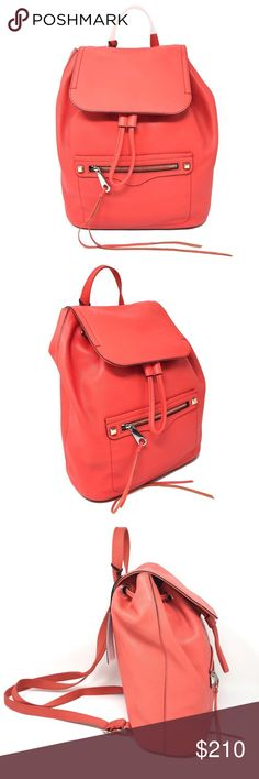 Rebecca Minkoff Regan Backpack Leather Handbag Rebecca Minkoff Regan Backpack Electric Red Orange Leather Handbag  Item# 273026073217  100% Authentic Rebecca Minkoff!  Buy with confidence!  • MSRP: $345.00  • Style: CU17EPBB52-707  Features:  • Color: Electric Red Coral Orange  • Soft genuine pebbled leather  • 12 inches tall  • 5 inches deep  • 10 inches long at the base  • Drawstring bucket bag design  • Leather cover flap with magnetic snap closure  • Large front zip pocket  •…