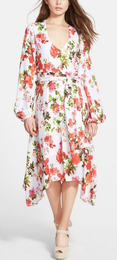 This floral white handkerchief dress is so lovely.