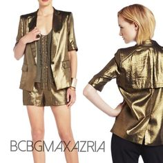 BCBG MAXAZRIA Foley Blazer BCBG MAXAZRIA Foley blazer in a drapey gold metallic with cute trench flap back detail and front flap pockets. Dress it up or dress it down with jeans. Size XS, fits sizes 2 to 4, Sold out everywhere! BCBGMaxAzria Jackets & Coats