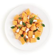 Take advantage of fragrant ripe summer melons, pairing them with tangy goat cheese and mint for quick summer dish. #myplate #fruit #dairy