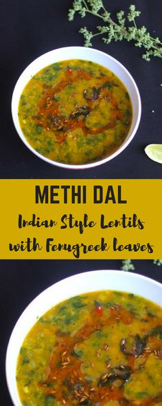 Vegetarian Protein recipes - Methi Dal is a simple dish of yellow lentils (tur dal) and fresh methi (fenugreek leaves) gently spiced with fresh ginger garlic and garam masala powder. A bowl of methi dal with steaming hot rice and ghee spells comfort foo Methi Recipes, Veg Recipes, Curry Recipes, Easy Healthy Recipes, Easy Meals, Cooking Recipes, Protein Recipes, Simple Recipes, Garlic Recipes