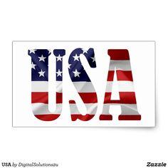 USA RECTANGULAR STICKER