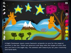 Free iPad App - Night Zookeeper Drawing Torch. This is a drawing and story app.