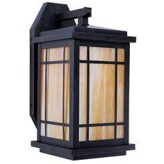 "Arroyo Craftsman Avenue 1-Light Outdoor Wall Lantern Size: 15.5"" H x 8"" W x 9"" D, Finish: Verdigris Patina, Shade Type: Amber Mica"