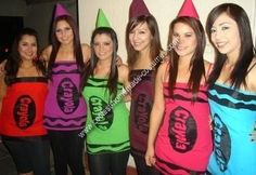 crayon diy costume idea ~ fun for a group ~ halloween ~ tips advise to cut fabric into tube top dresses create/cut a log and squiggles out of black felt ...  sc 1 st  Pinterest & Coolest Homemade Crayola Crayons Costume | Pinterest | Crayons ...