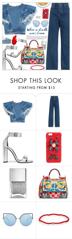 """Denim"" by makeupgoddess ❤ liked on Polyvore featuring Philosophy di Lorenzo Serafini, Y/Project, Tom Ford, Dolce&Gabbana, Nails Inc., Matthew Williamson, KAROLINA, Luis Morais and Maybelline"