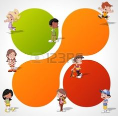 sport magazine: Colorful template for advertising brochure with a group of cute happy cartoon kids playing Illustration
