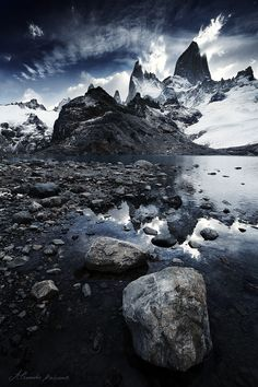 Cloud Bow and the Icy Fortress by Alexandre Deschaumes, via 500px; Cerro Fitz Roy, Patagonia
