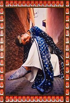 Available for sale from Vigo Gallery, Hassan Hajjaj, Bouchra (In Derb) Metallic Lambda print on dibond, framed with walnut with Tomato cans, Arab Fashion, Tribal Fashion, African Fashion, Fashion Art, Girl Fashion, Shoes Editorial, Editorial Fashion, Andy Warhol, Moda Tribal