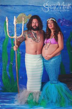 Pregnant Mermaid Merman Portrait Costume