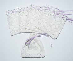5 pcs Cotton lace favor bags with satin ribbon by leonorafi