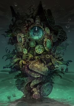 「時計塔下の待ち合わせ」/「ポ~ン(出水ぽすか)」のイラスト [pixiv] underwater beautiful clocks