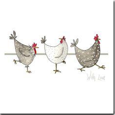 Avec amour carte de voeux - poulets, vide à l'intérieur