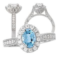 18k Elite Collection 7x5mm oval Aquamarine Spinel engagement ring with diamond halo and milgrain beading