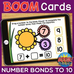 THIS IS AN INTERACTIVE DIGITAL RESOURCE. Download the preview to play a shortened version of the Boom Deck – this will help you decide if the resource is suitable for your students.  ABOUT THIS BOOM DECK: Number bonds are powerful tools for helping students learn to compose and decompose numbers, which is key to developing number sense.  Students will drag the correct number into the blank flower to complete the number bond, then type the missing number in the blank box.