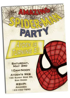 Personalized and Custom Vintage Spiderman Happy Birthday Party Invitation and Envelopes Printed and Shipped