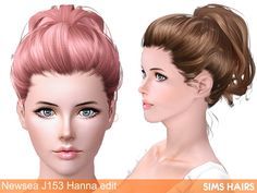 Newsea's J153 Hanna hairstyle natural edit by Sims Hairs
