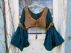 Peacock Teal Bell Sleeve Bra Top Cropped Top// Bohemian Ethnic Festival// Small Medium// emmevielle