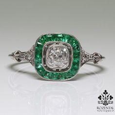 http://rubies.work/0856-ruby-pendant/ Antique Art Deco Platinum Diamond & Emerald Ring – Rozental Antiques