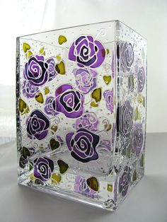 Hand painted glass vase by Elena Vitro