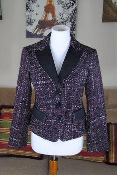 Nanette Lepore Tweed Lined Button Down Blazer Jacket Size 4  #NanetteLepore #Blazer