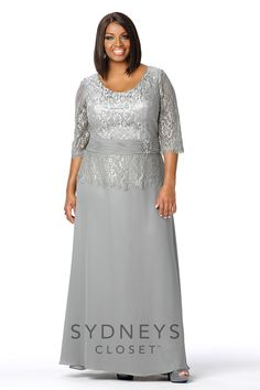 You will be stunning at any special occasion when you wear this fashionable long chiffon and lace plus sized gown. #redcarpetready #cocktaildress #plussize