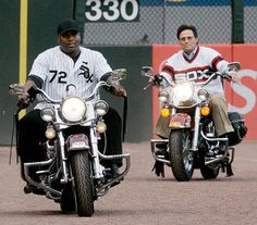 Jackson and Carlton Fisk on their bikes in 2008.