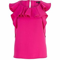 Bright pink ruffle neck top - going out tops - tops - women River Island Fashion, Going Out Tops, Summer Tops, Bright Pink, Pretty In Pink, Ruffle Blouse, Fashion Outfits, Crop Tops, Lady