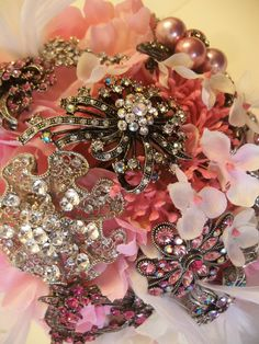 SALE Totally Pink Hydrangea and Pink Peony Bouquet with Brooches. $199.00, via Etsy.