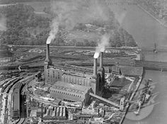 Battersea from the air 1946 ...3 chimneys...