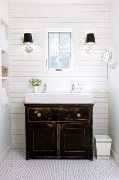 LOVE // Small White Trough Sink With Classic Vanity Cabinet For Simple  Bathroom Design