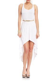2B Emilee Chain Trim High Low Dress 2b Day Dresses White-xs