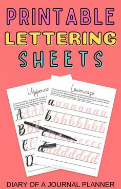 Become a lettering pro with these awesome printable lettering sheets for large brush tip pens! #lettering #printables #fonts Bullet Journal Hand Lettering, Journal Fonts, Journaling, Brush Lettering Worksheet, Hand Lettering Fonts, Bullet Journal Inspiration, Journal Ideas, Tracing Sheets, Hand Lettering For Beginners
