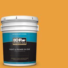 BEHR PREMIUM PLUS 5 gal. #hdc-FL14-5 Gilded Leaves Satin Enamel Exterior Paint