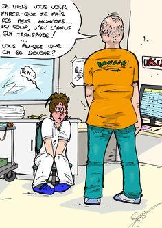 True story: le patient qui arrive en plein rush pour un problème d'humidité… Oui, visiblement, un anus humide et des pets transpirantsrelèvent d'une prise en charge aux urgences !   ***Anecdote vécue par Elo'*** Medical Humor, Nurse Life, Bart Simpson, Funny Cats, Oui, Comics, Fictional Characters, Nursing, Quotes