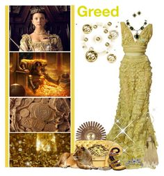 """Battle Of The Sisters Grimm - Round 5: 7 Deadly Sins//Greed"" by fashionqueen76 ❤ liked on Polyvore featuring Elie Saab, Whiting & Davis, Mojo Moxy, Fabergé, Chanel and BOTSG04"