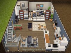 Front view of club owner's basement crash pad. In my Sims Freeplay Casas The Sims Freeplay, Sims Freeplay Houses, Sims 4 Houses, Sims 4 House Plans, House Floor Plans, Sims House Design, Sims Free Play, Casas The Sims 4, Apartment Floor Plans