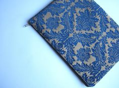 Damask blue MacBook 13 sleeve with zipper, MacBook Air 13 Sleeve, MacBook Pro 13 case, MacBook Air 13 Cover, MacBook Pro 13 on Etsy, $27.00