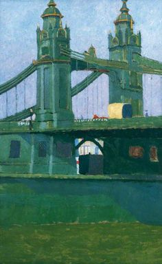 'Hammersmith Bridge', oil paint on canvas by Malcolm Drummond (n.d.). #PaintedLondon