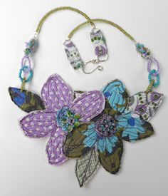 Fabric Flower necklace by Laura McHugh - Vintage2Glam