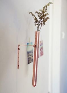 wall mounted copper vase, would want to flame patina / braze