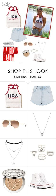 """Soly: 4th of july🇺🇸"" by solyslstore ❤ liked on Polyvore featuring Hollister Co., Topshop, Ray-Ban, Links of London, Jessica Simpson, Charlotte Russe, Christian Dior and Converse"